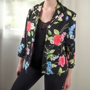 Vintage Black Pink Floral Light Weight Blazer